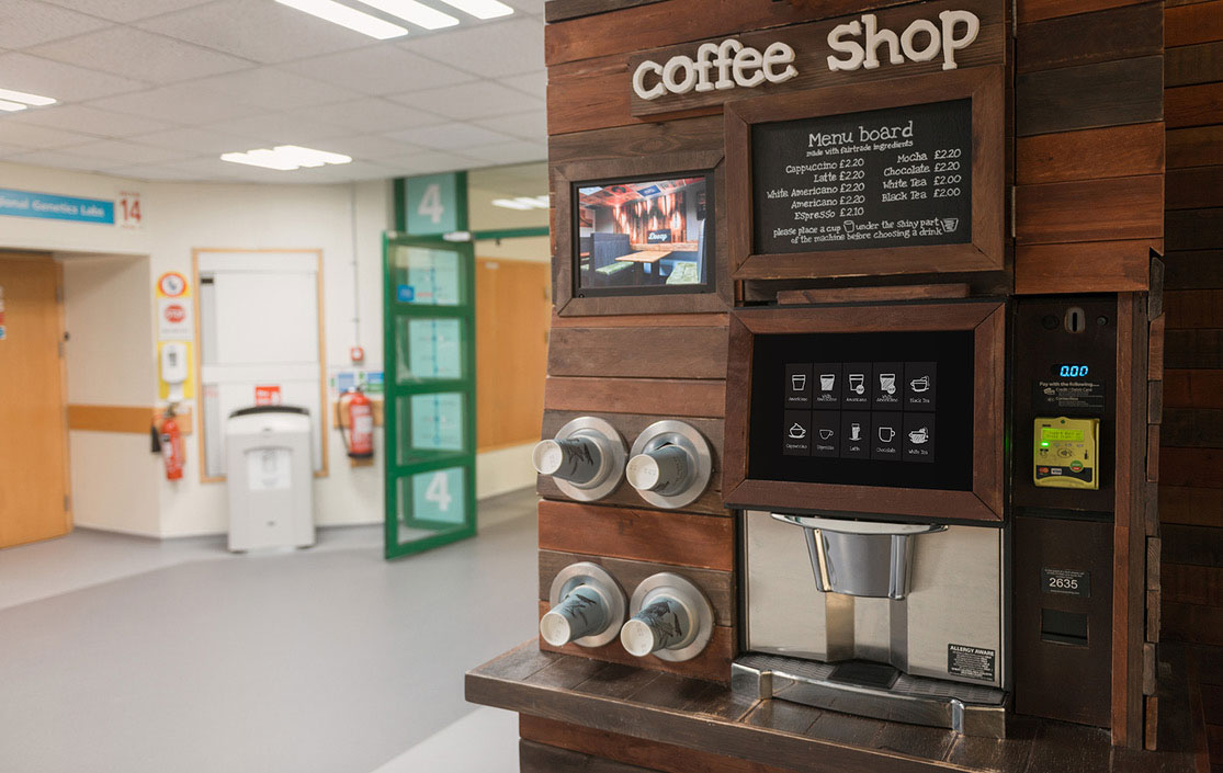 Commercial coffee machine at hospital