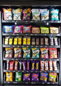 Traditional vending machine selection of products